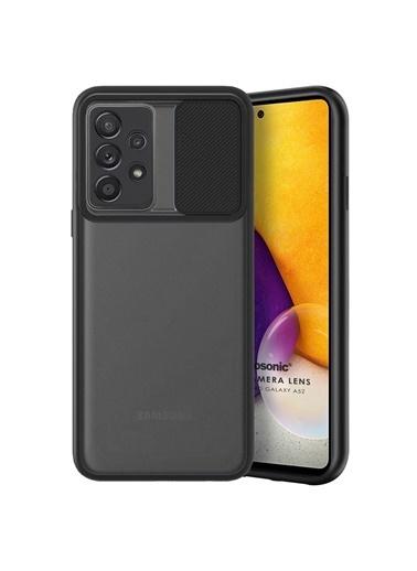 Microsonic Samsung Galaxy A52 Kılıf Slide Camera Lens Protection Kırmızı Siyah